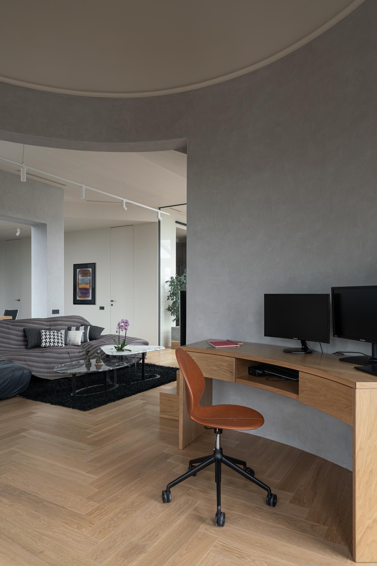 Кабинет в квартире у Смольного по проекту бюро Hauabaus